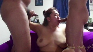 Double Vaginal Threesome with a Fan Pt1