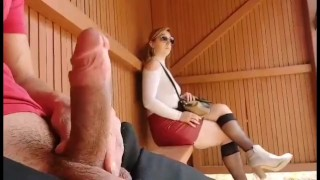I take my Cock out at this Bus Stop Unbelievable how this Student will React! i'm Shocked