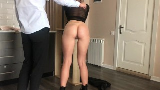 Light BDSM. Hot Wax on the Ass is the best Gift for a Russian Whore