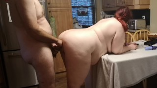 BBW MILF getting her Ass Fucked Hard on the Kitchen Table