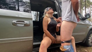 Girl with Leather Clothes Sucked me in the Woods