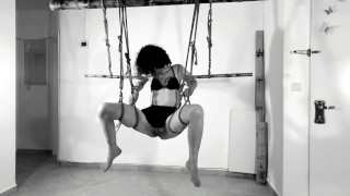 Suspended and Fucked - Tied up Multiple Orgasms, Squirt and Cum inside - Real Homemade BDSM