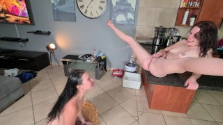 Lesbians Piss Facial and Pussy Clean up